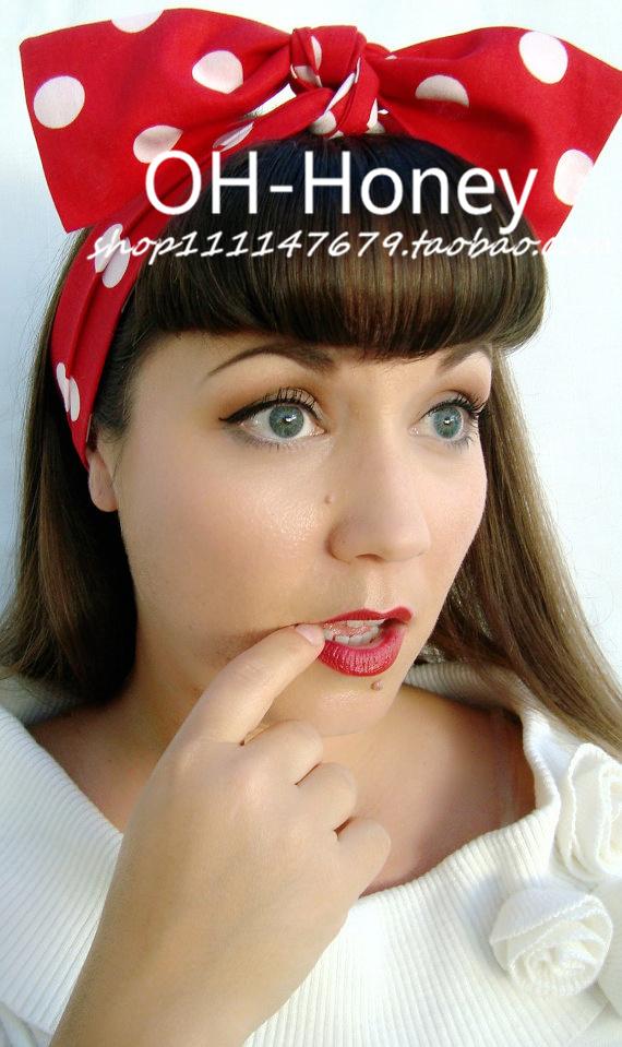 1950s women vintage rockabilly pinup red white polka dot headband hairband hair scarf wrap bands accessories bandana bandeau(China (Mainland))