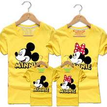 2016 New Family Matching Outfits Family Look Cotton T-shirt Mick Mouse printing For Summer 20Colors Dad&Mon&Sun&Daughter QZ021
