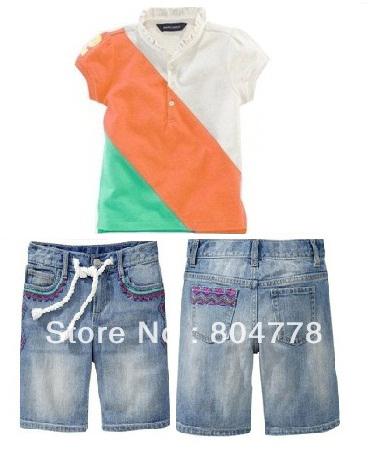 wholesale girls 2pcs cloth sets summer short sleeve t-shirt+ denim jeans short  leisure kids suit  6pcs/lot<br><br>Aliexpress