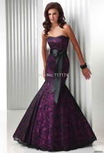 Strapless Beading Mermaid Black Lace Empire Prom Dresses With Sash Purple Inside Evening Gown Party Dresses In Stock(China (Mainland))