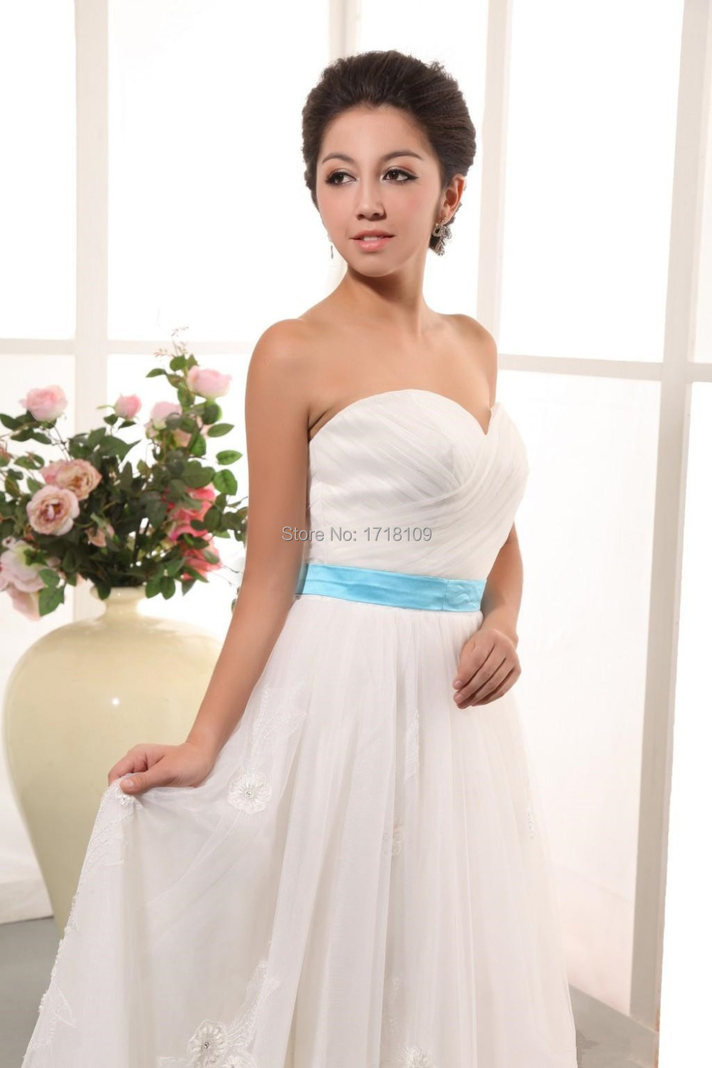 2015 new fashion spring wedding dress sweetheart blue sash for Blue sash for wedding dress