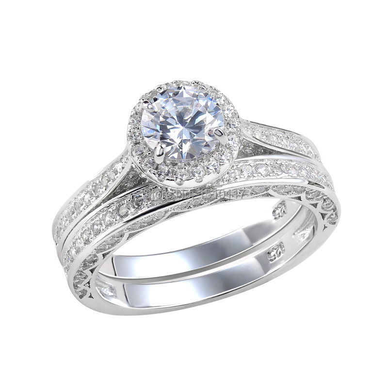 24 ct round cut aaa cz solid 925 sterling silver wedding With solid silver wedding rings