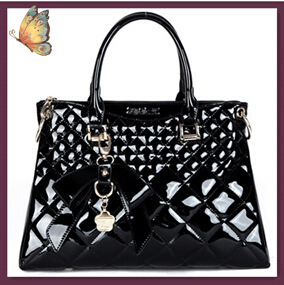 NO.1 New 2015 Patent Women Leather Bags Fashion Womens Famous Brand Plaid Crocodile Bag  OL BOW Women Messenger Bags Tote SJ12<br><br>Aliexpress