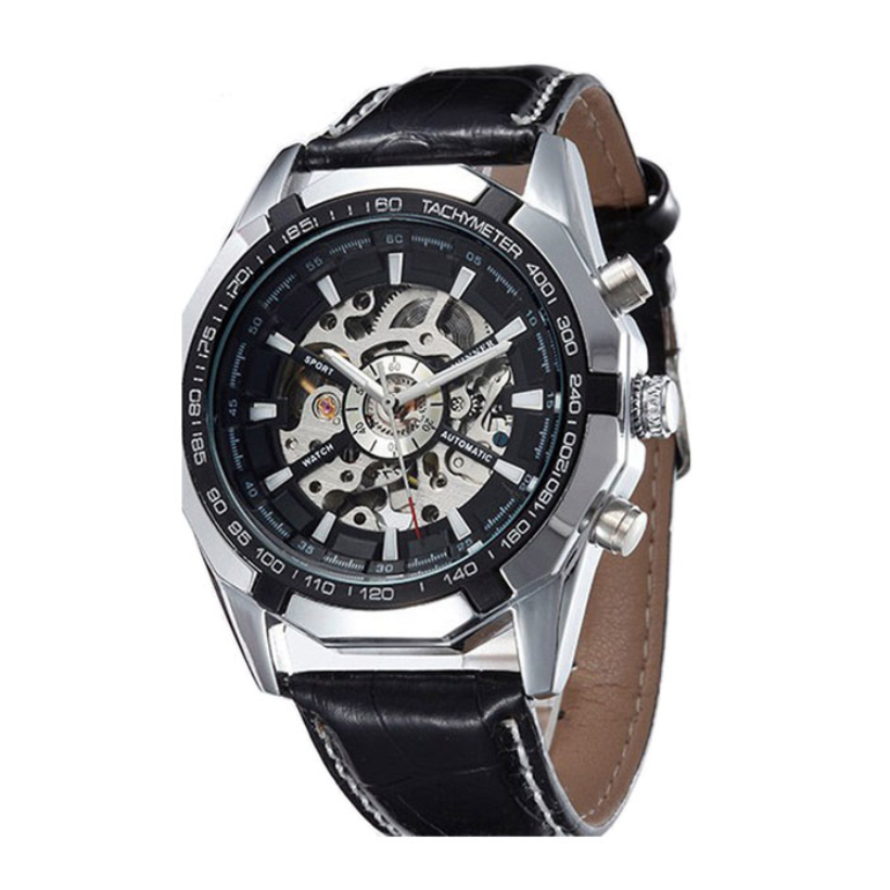 Creative 2015 Automatic Mechanical Watch Men Hollow Retro Machinery Present Steel Table Watch<br><br>Aliexpress