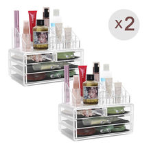US Shipping 2pcs Acrylic Drawer Jewelry Cosmetic Organizer Storage Box For Makeup Display Rangement Maquill Color Clear moa0003
