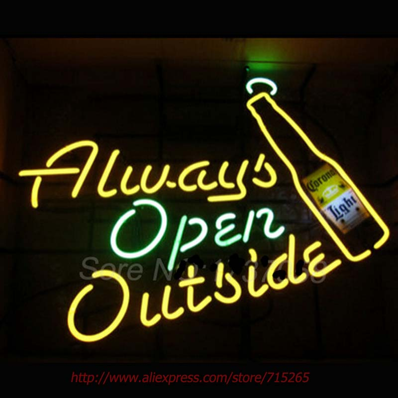 Coronaa Always open outside Neon Sign Handcrafted Neon Bulbs Real GlassTube Impact Club Decorate Store Display Fast ship 30x20(China (Mainland))