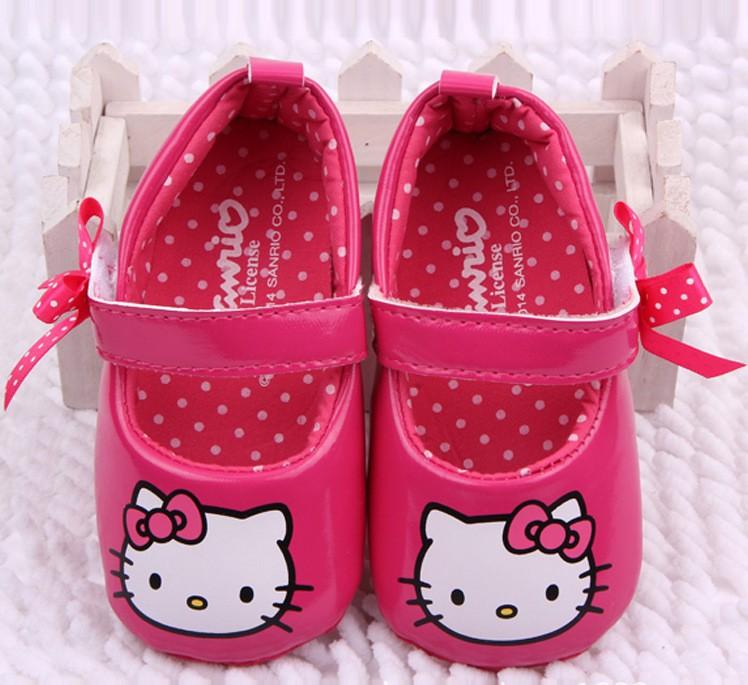 2015 New arrival velcro animal prints black first walker baby girl shoes hello kitty shoes sapatos para meninas(China (Mainland))