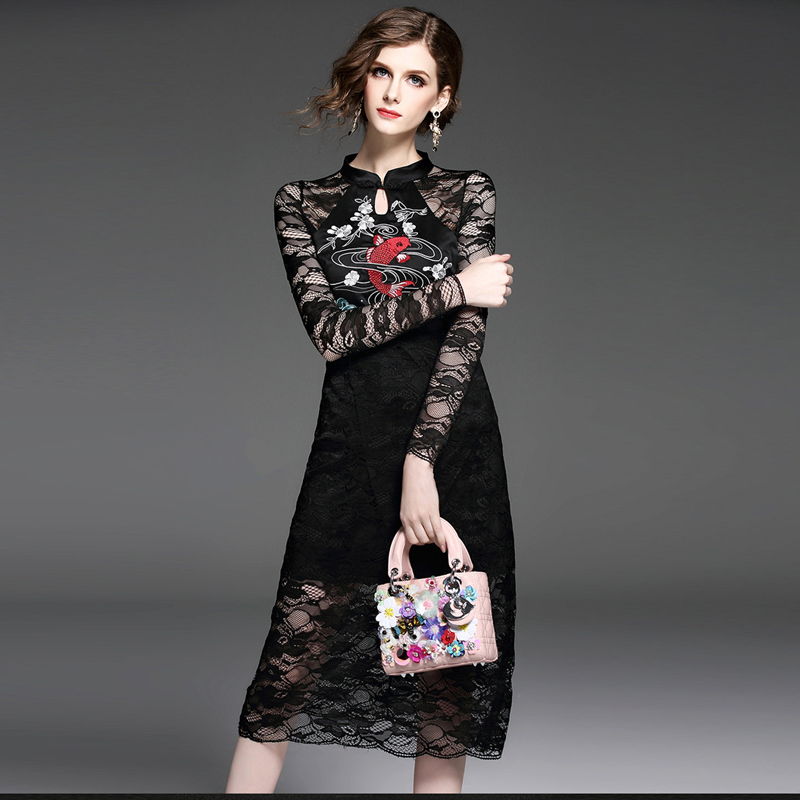 2017 spring high quality new lace embroidery dress fashion stand collar sexy temperament Slim thin bag hip dinner ladies dress(China (Mainland))
