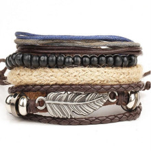 Buy 2017 Vintage Bohemia Wind Multilayer Leather Bracelet Men Wooden Bead Hand Woven Bracelet Bangle Wristband All-match Pulsera for $1.37 in AliExpress store