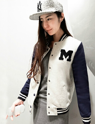 New Arrival Tops Fashion Autumn Winter Female Casual Baseball Color Outerwear Pullover Suit Jackets Base Ball Suit(China (Mainland))