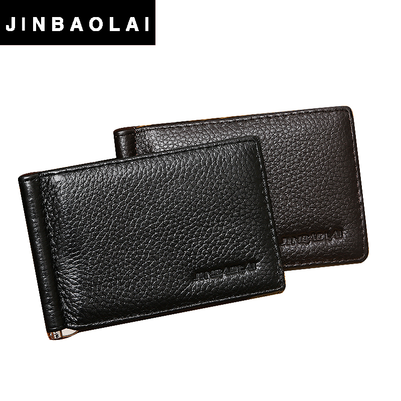 JINBAOLAI Brand Fashion New Unisex Money Clips Black Brown Genuine Leather 2 Folded Open Clamp For Money for men & women clips