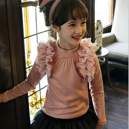 Wholesale 2016 New Spring Long Sleeve Cotton Children Pure Color T Shirt  Kids Gauze Shoulder Tops Shirts Pink White<br><br>Aliexpress