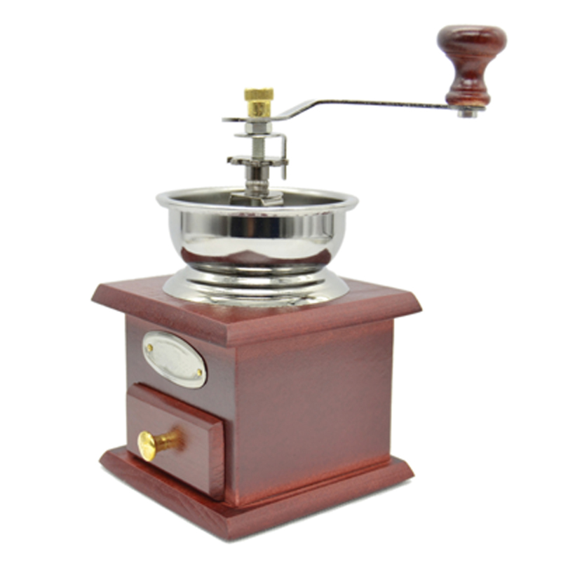 New Elegant Manual Coffee Bean Grinder Mill Hand Crank Adjustable Wood Iron Antique Style for coffee shop displays gift FULI(China (Mainland))