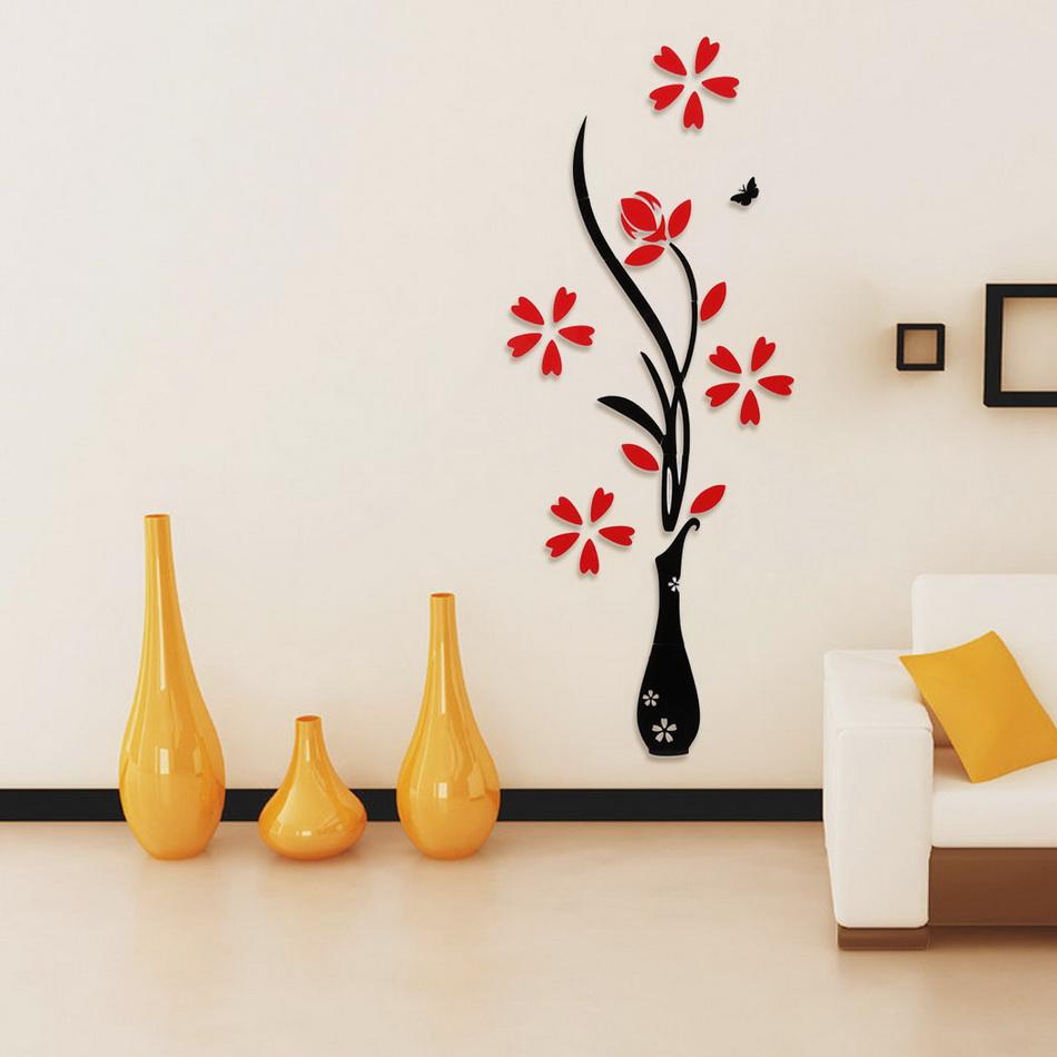 Diy 3d vase flower removable vinyl wall art decal stickers water resistant self adhesive home Diy home decor flower vase