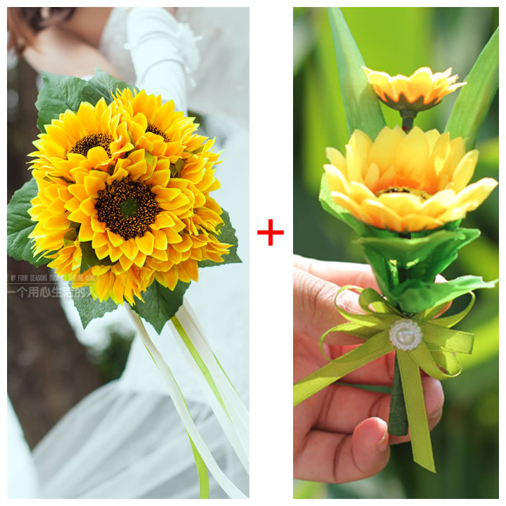 wedding boutonnieres Yellow Gerbera Gerber Silk Wedding Flowers Daisy Daisies Bridal Bridesmaid Wedding Bouquet Bride FW192(China (Mainland))
