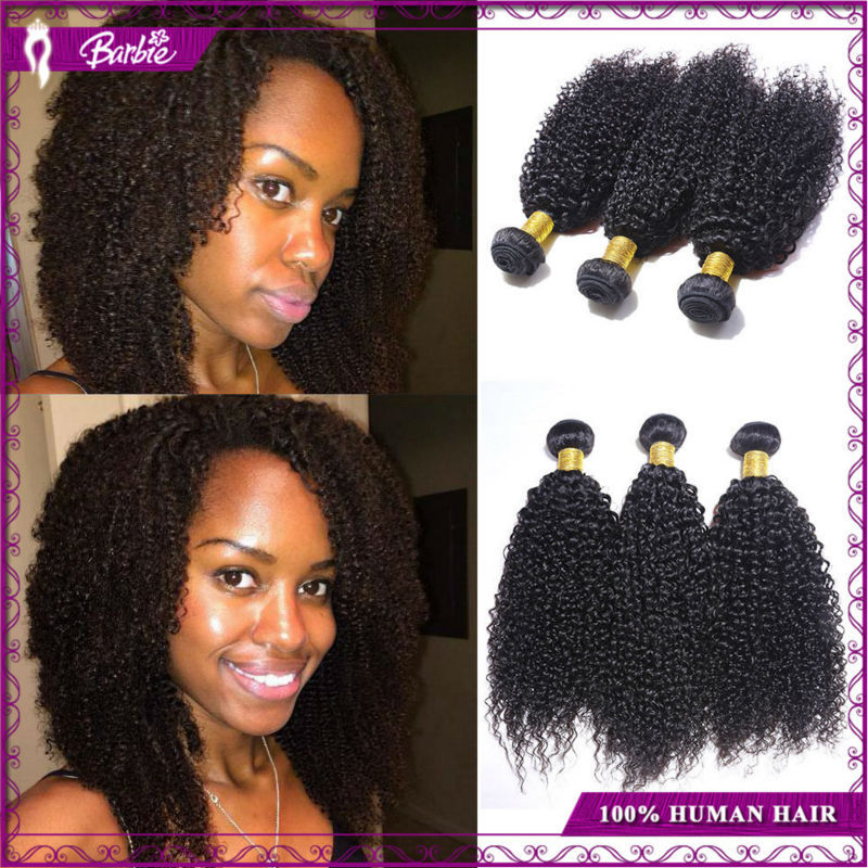New Arrived Cheap Unprocessed Brizilian Human Hair Extension Afro Kinky Curly 3pcs/lot Natural Black Brazilian Virgin Hair Curly(China (Mainland))