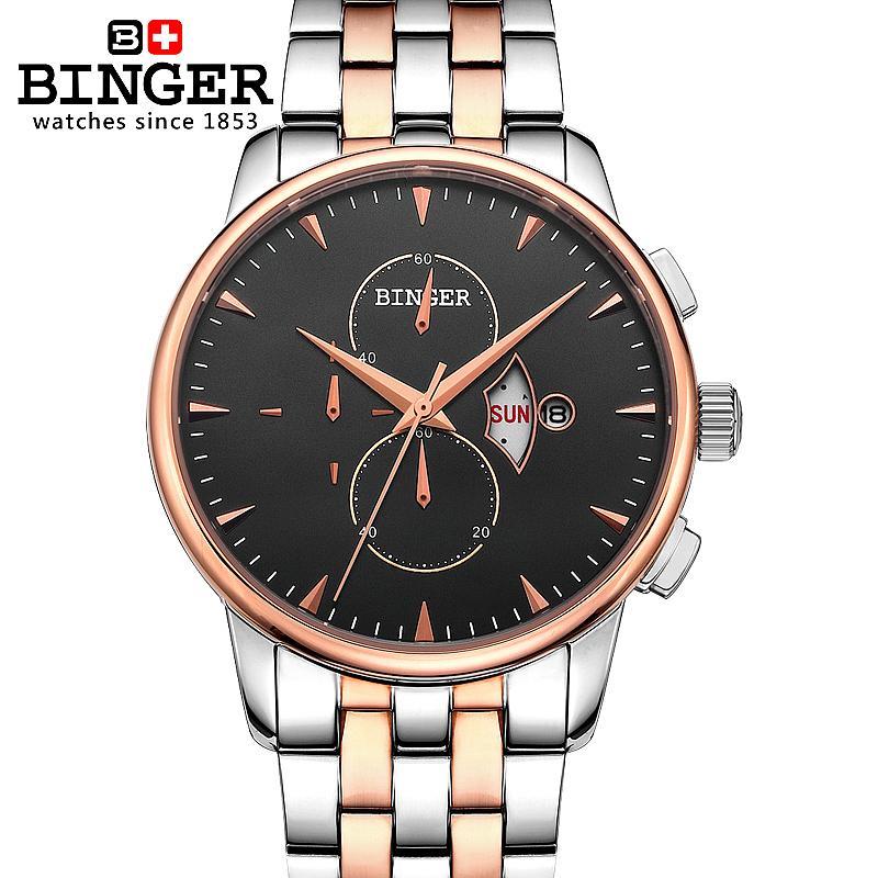 Switzerland watches men luxury brand Wristwatches BINGER 18K gold Quartz watch full stainless steel Chronograph BG-0404-4