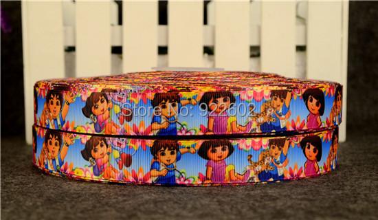 """7 / 8 """"22mm Dora Characters Printed Grosgrain Ribbon 10 Yard Free Shipping 8(China (Mainland))"""