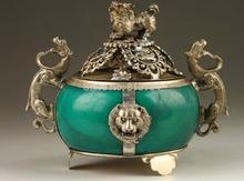 Vintage Collection Handmade Old Tibet Silver Dragon Jade Incense Burner(China (Mainland))