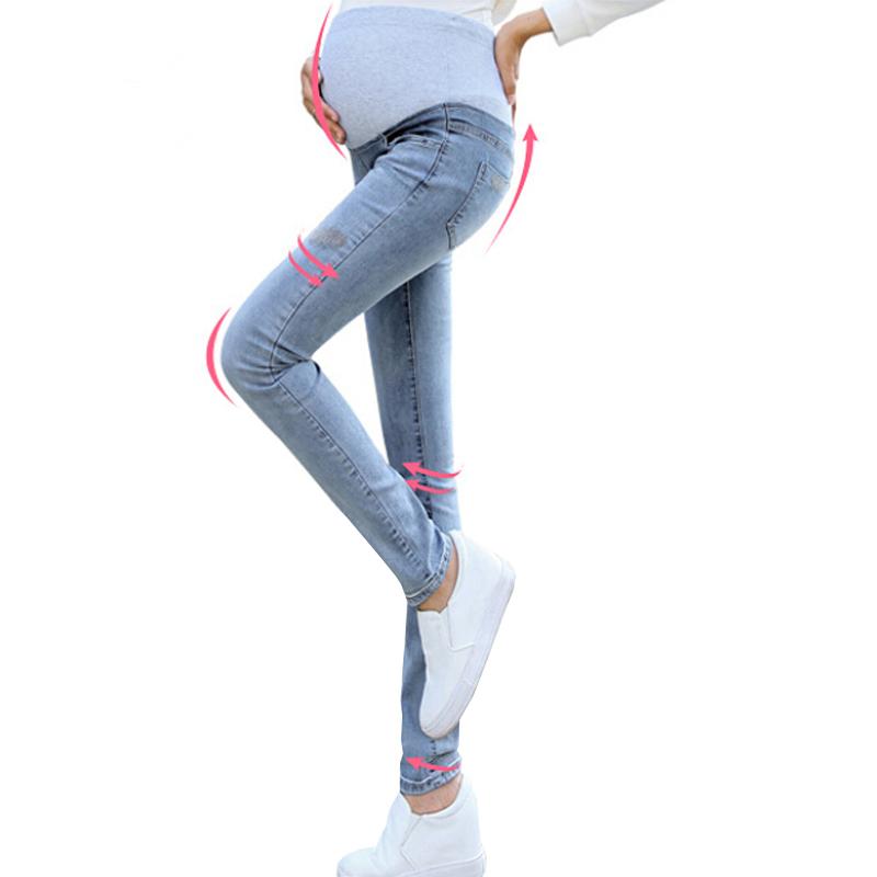 Осень тонкий стильный джинсы беременным карандаш мягкий брюки ноги новые вышивка по беременности и родам брюшной брюки для беременность