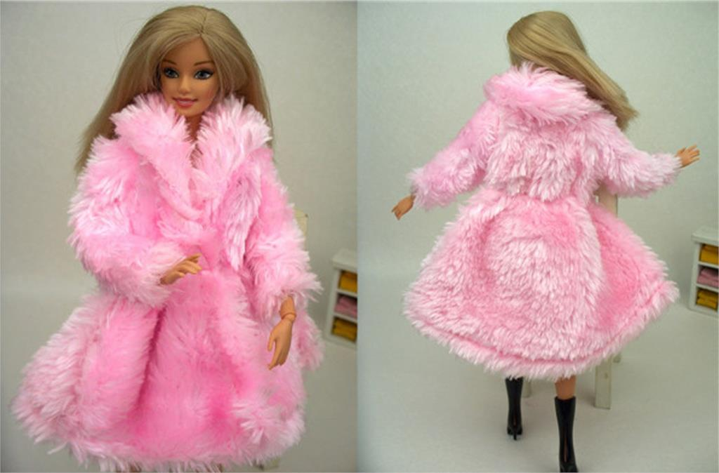 Doll Equipment Winter Put on Heat Pink Fur Coat Garments For Barbie Dolls Fur Doll Clothes For 1/6 BJD Doll Youngsters Toy