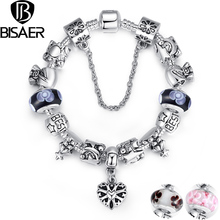 BISAER Silver Heart Charm Bracelet Silver With Exquisite Murano Glass Beads Fit Pandora Original Bracelet A1827(China (Mainland))