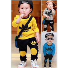 2016 brand new Boys clothing set kids sports suit children tracksuit girls T shirt pants gogging