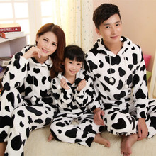Free Shipping Autumn winter flannel family fashion cartoon lovers thickening of milk cow child sleepwear(China (Mainland))