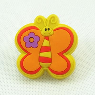 43mm Yellow Butterfly Cartoon Cabinet Knob Kids Drawer Handles Lovely Closet Pulls Kindergarten Handles & Knobs(China (Mainland))