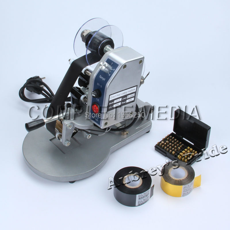 Manual Hot Stamping Coding Printer Machine +2 Rolls Black Golden Ribbon Color Belt Date 0-9 No.+26 A-Z English Capital Letters