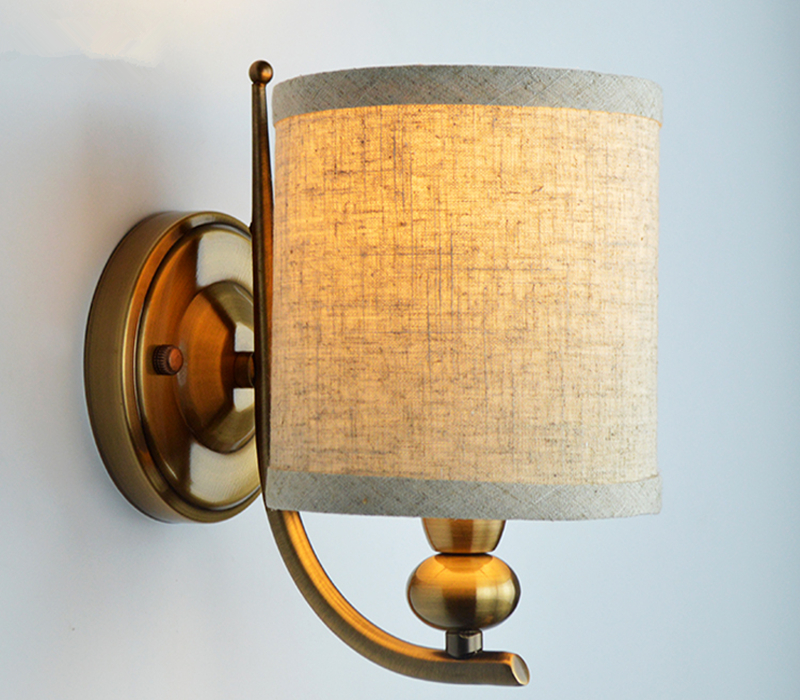 LOFT American Wrought Wall Lamp Copper body Fabric Lampshade Sconce Lamparas Luminaria E14 Blub ...