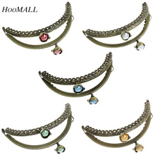 Hoomall Brands 5PCs Metal Purse Bag Frame Kiss Clasp With AB Color Resin Bead Lotus Head Lock Bronze Tone For DIY 8.8cm x6cm(China (Mainland))