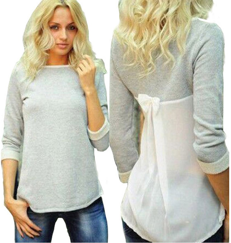 2016 New Women Lady  Spring Fashion  Sexy Casual  grey Bowknot O Neck Top T-shirt