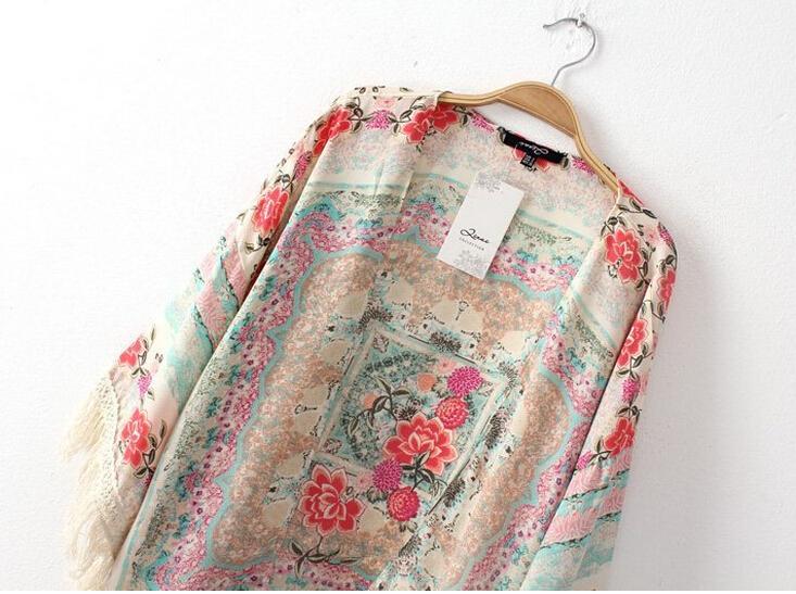 Женщины кимоно кардиган винтажный цветок печать кисточка блузы femininas blusas дамы длинный рукав топы