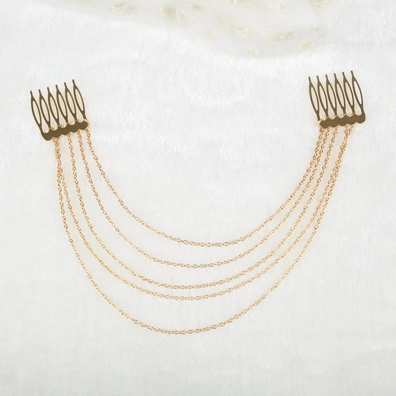 Unique Design Hot Fashion Women Girls Tassel Alloy Chain brush Luxury Long chain Hair Comb Accessories JL*SS0042*60(China (Mainland))
