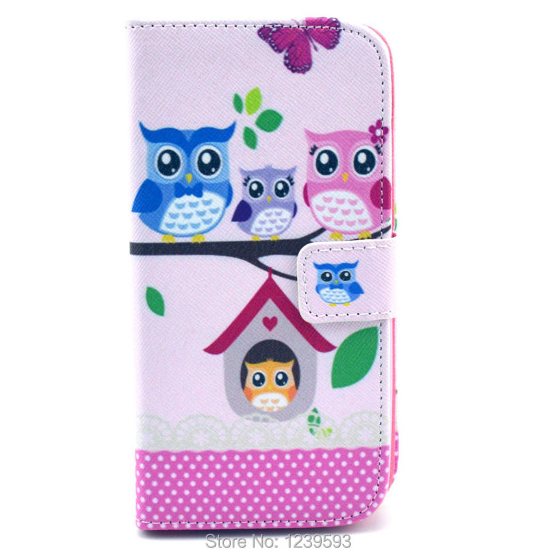 #1763 Lovely Pink Cartoon Owl Magnetic Flip PU Leather Cover Case For LG Google Nexus 5 One Piece Free Shipping(China (Mainland))