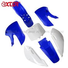 High performance blue4+white3 KLX110 dirt bike plastic guard fairing kits FOR KAWASAKI MOTO DIRT BIKE PARTS KX65 KLX110(China (Mainland))