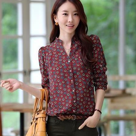 2015 spring new ladies print shirt women blouses women blouse camisas blusas roupas femininas chiffon blouse clothing body(China (Mainland))