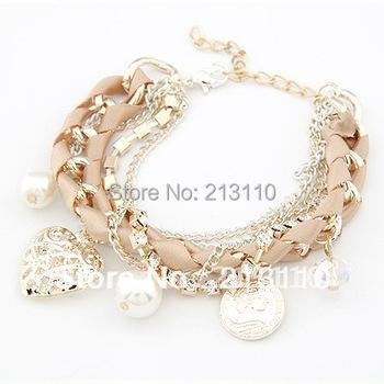 2015 Hottest Pearl Crystal Fashion Love Heart Gold Charm Bracelets Women Pulseiras Femininas Pulseras Mujer Bijoux Bijuteria