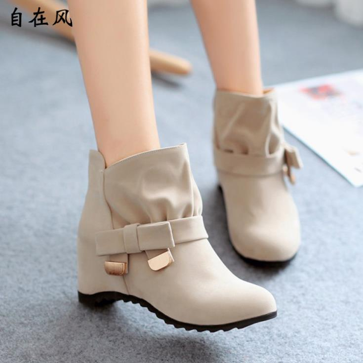 Women's Martin Boots Increased within British Student Short Nubuck Leather Shoes Max Size - leyte's store