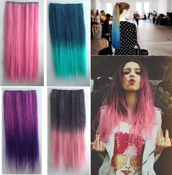 Wholesale 20pcs Women Clip in Hair Two Tone Colorful Hair Pieces Synthetic colorful Clip In Hair Piece Gradient Hair <br><br>Aliexpress