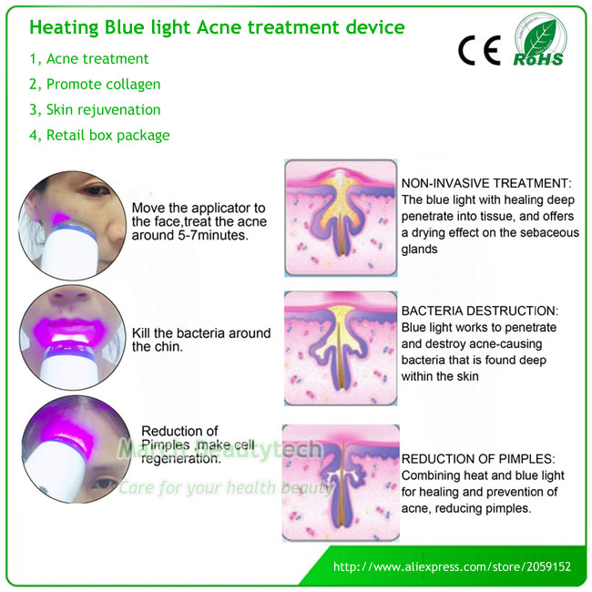 Home Beauty Salon Equipment Heating Blue Light Face Acne Therapy Pimples Removal Facial Beauty Device