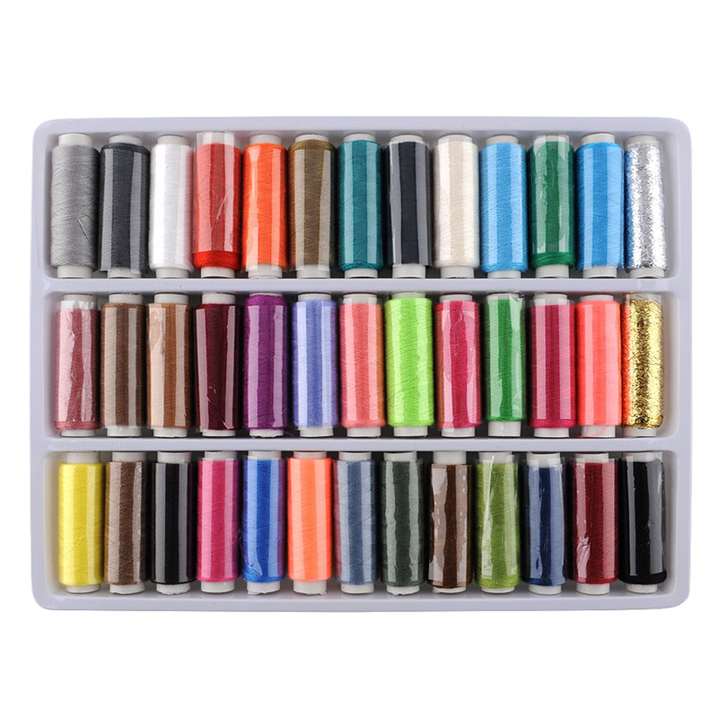 1Box 39 Pcs Sewing Quilting Thread mixing equipment Spools Different Colors Polyester Embroidery Free Shipping(China (Mainland))