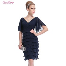 Blue Short Cocktail Dresses Ever Pretty Double V-neck Butterfly Sleeve Sexy 2016 HE03903 Plus Size Special Occasion Dresses(China (Mainland))