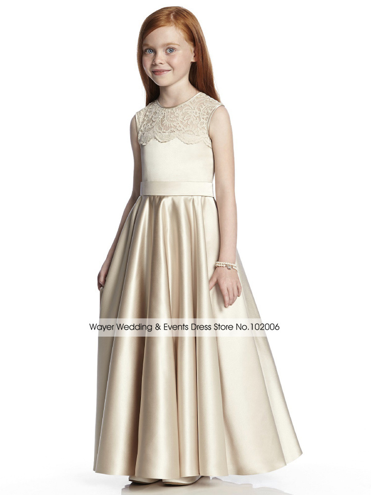 Vintage champagne lace satin flower girl dresses for for Dress for girls for wedding