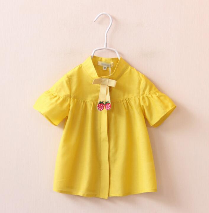 New Girls Baby Strawberry bowknot stand collar shirt princess short sleeves shirts wholesale<br><br>Aliexpress