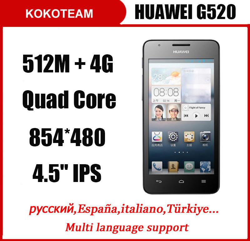 "Original HuaWei G520 mobile phone 4.5"" Android 4.1 Quad Core 512MB RAM 4GB ROM 3G WIFI GPS smart phone mate 7 honor phone(China (Mainland))"