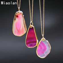 6 Colors 2015 New Natural Stone Pendant Amethyst Pink Quartz Necklaces Gold Plated Chain Fluorite Erose Statement Necklace