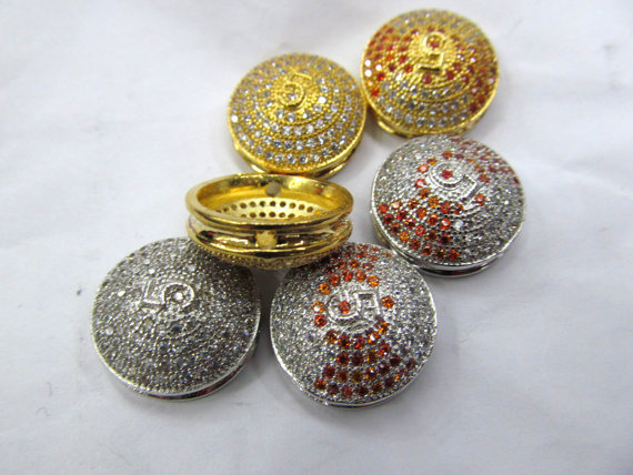 AAA grade 18mm 12pcs pave metal spacer &amp;cubic zirconia crystal roundel button charm jewelry beads<br><br>Aliexpress