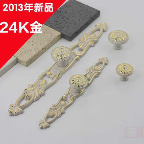 Garden antique ivory handle small solid 24K gold cabinet drawer wardrobe door shoe surface mounted handle(China (Mainland))